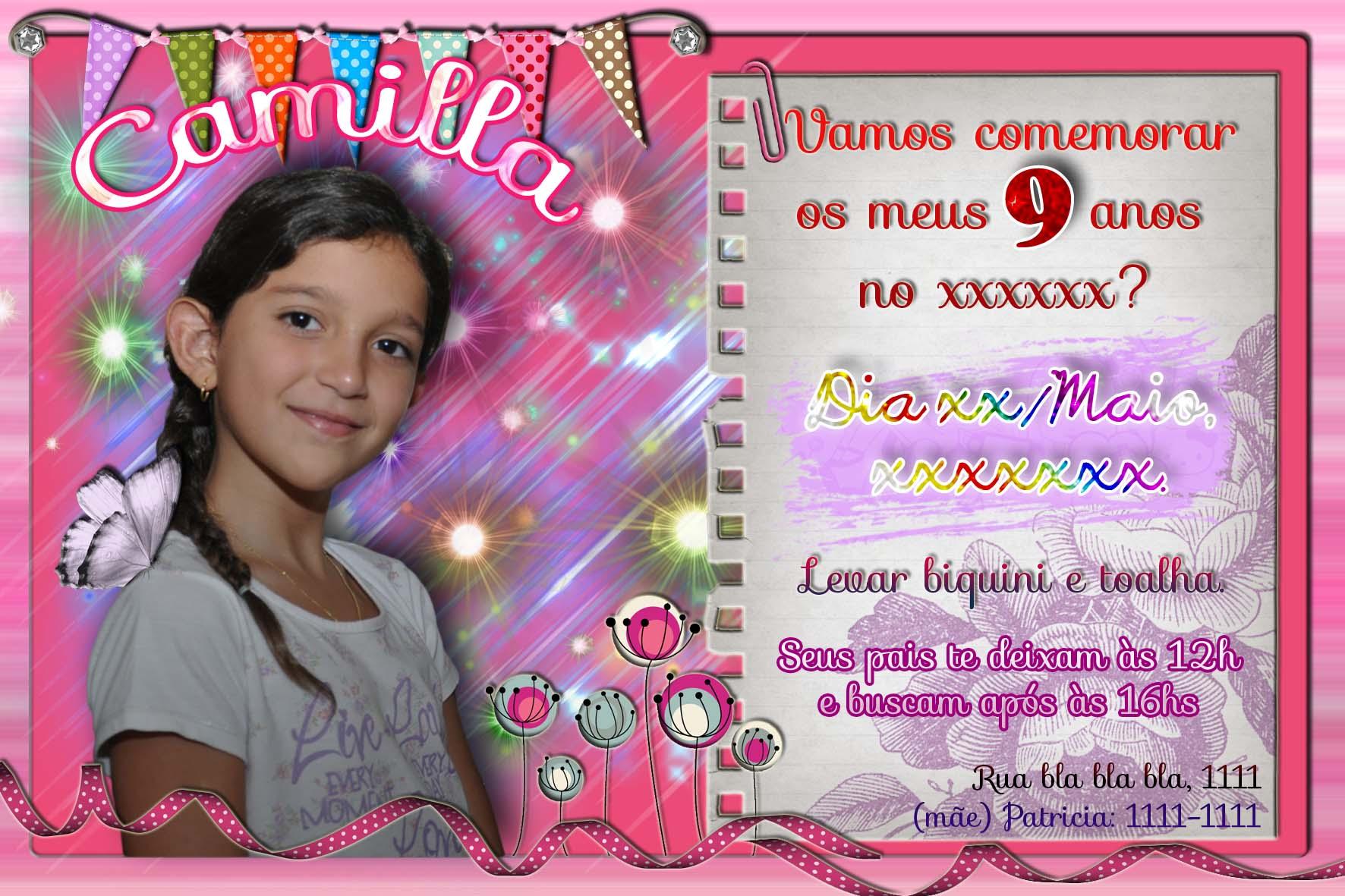 Convite Aniversário da Camilla