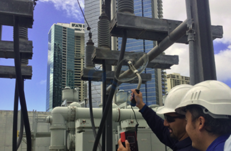 Parabolic Dish Ultrasonic Testing in Switchyard
