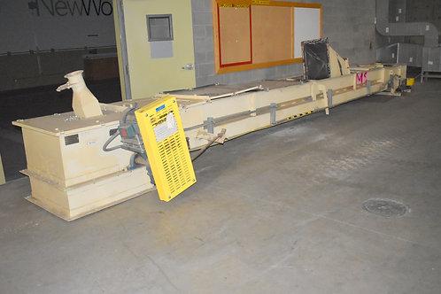 Trough belt conveyor 26 ft long, 24 inch wide belt conveyor, lagging pulley