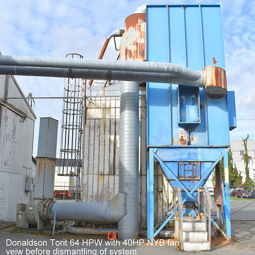 Donaldson 64-HPW dust collector 6,000 cfm to 10,000 cfm, 40hp fan