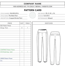 Production Pattern Cutter Card