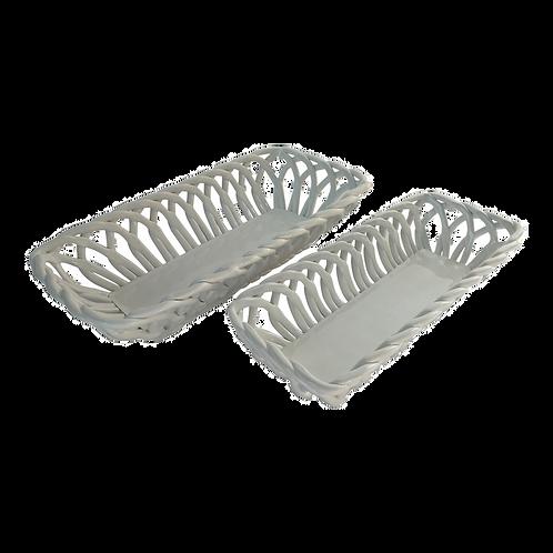 Conjunto de 2 cestos de ceramica branco
