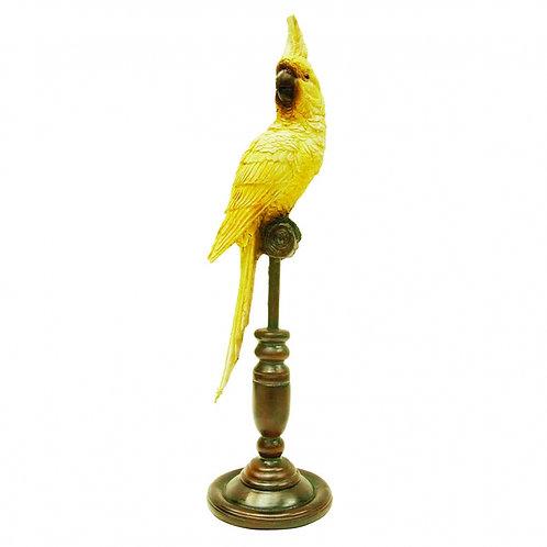 Pássaro decorativo de Resina e metal Amarelo