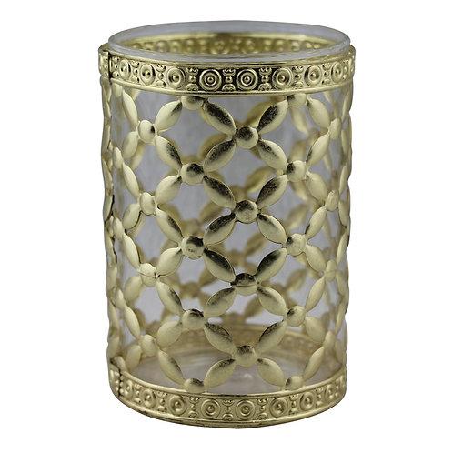 Castiçal de metal e vidro dourado