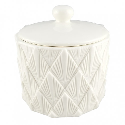 Vaso de cerâmica Branco com desenhos em textura