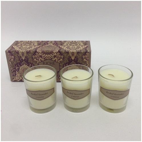 Trio velas copo na caixa Herbal Lavander