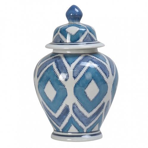 Pote de Porcelana Geométrica Azul
