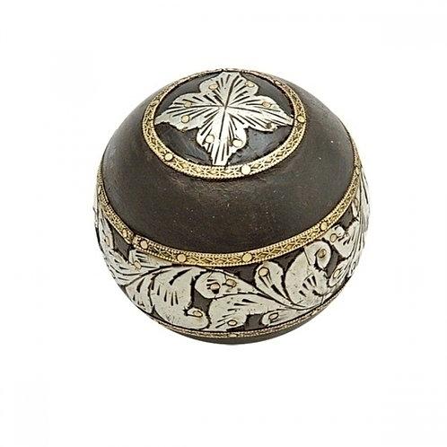Bola decorativa de Madeira - preto e prata