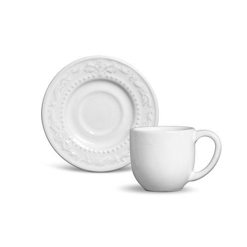 Conjunto Xícara Café Acanthus branco - 6 peças
