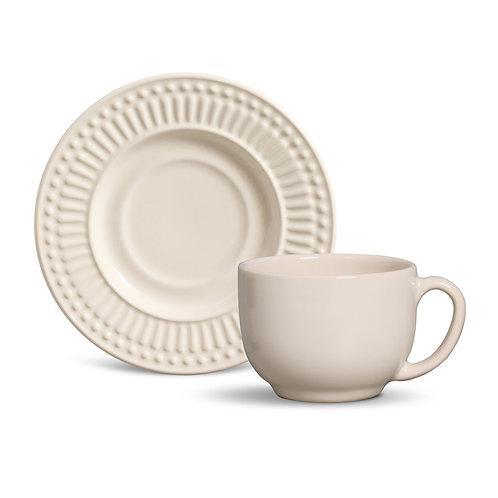 Conjunto 6 Xícaras de Chá com pires Roma Cru