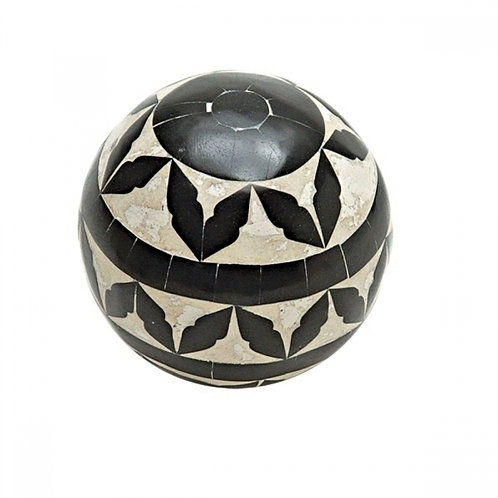 Bola decorativa de Madeira - preto e bege