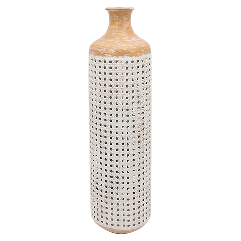 Vaso de chão de metal Rústico Bege e Branco