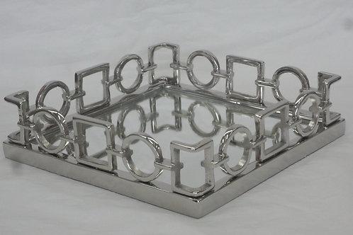 Bandeja Elos de metal com base em espelho