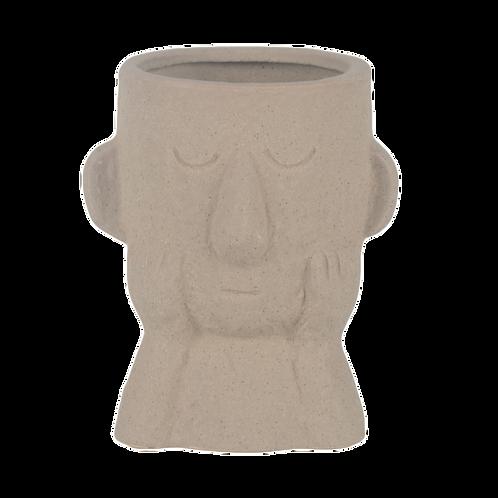 Vaso de cerâmica com rosto bege