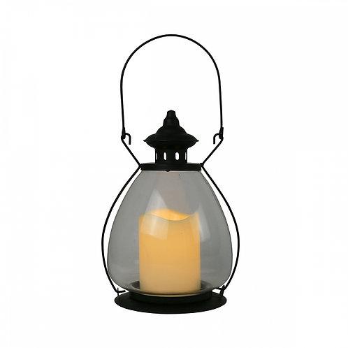 Lanterna de Metal e Vidro com vela LED