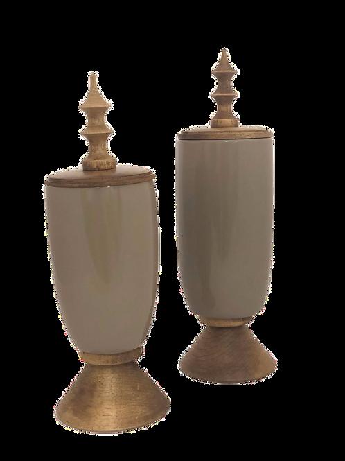Potes Decorativos Ricardo Oliveira - Laca Fendi brilhante com madeira