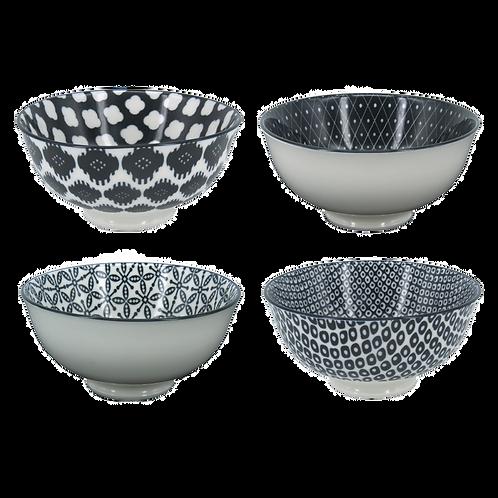 Conjunto 4 Bowls black and white