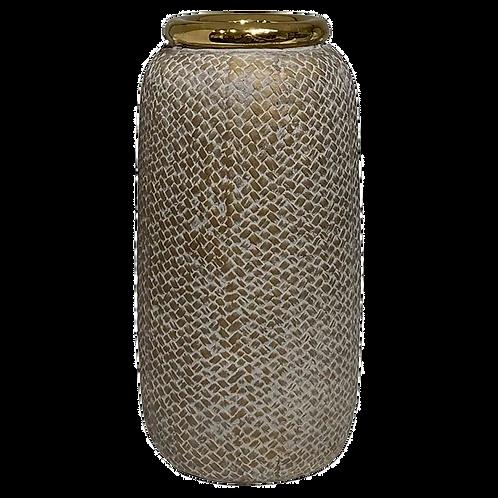 Vaso de cerâmica Bege e Dourado