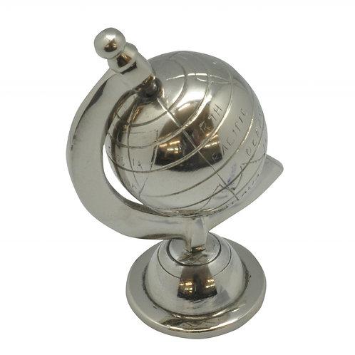 Globo decorativo metal prateado