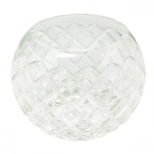 Vaso de Cristal Oval com Alto Relevo de Losango