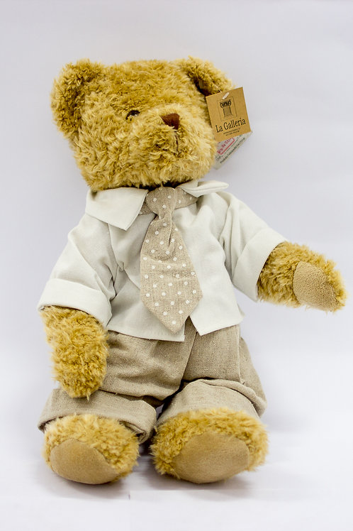 Urso Camisa branca e Gravata Poá