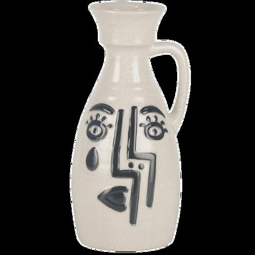 Vaso de cerâmica branco com desenho azul