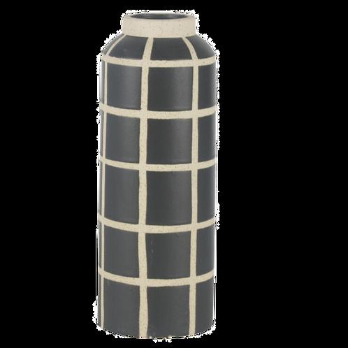 Vaso de cerâmica Geométrico Preto e Branco