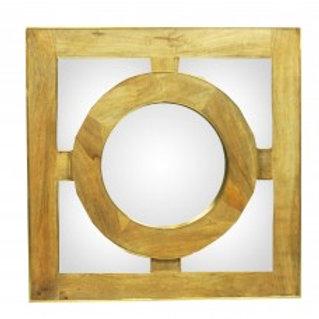 Espelho em Ferro e Madeira Natural Square G