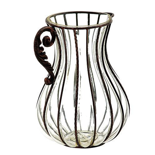 Peça decorativa Jarra ferro com vidro