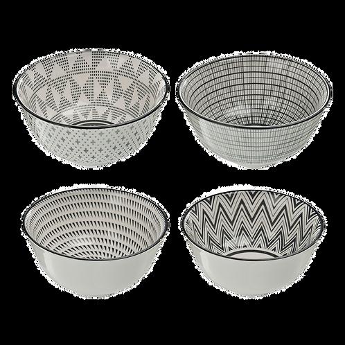 Conjunto 4 Bowls cinza e branco