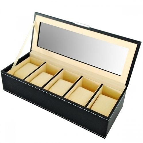 Caixa de relógio de couro sintético preto
