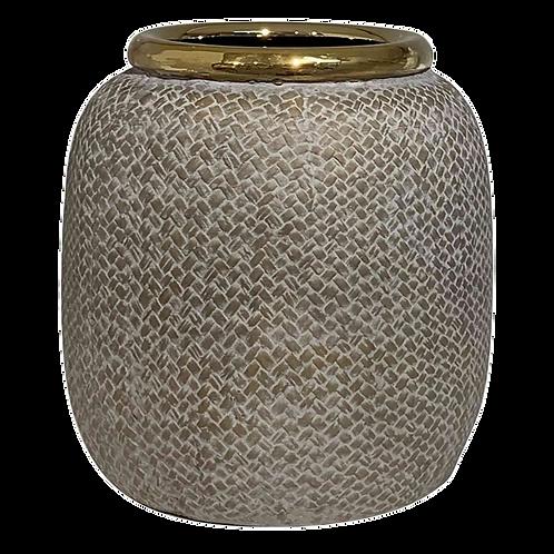 Vaso Cachepot de cerâmica Bege e Dourado
