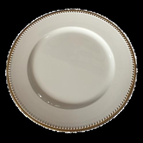 Sousplat Branco com detalhes dourado - unidade