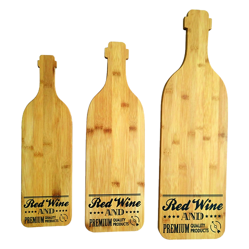 Tábuas de madeira formato garrafa de vinho