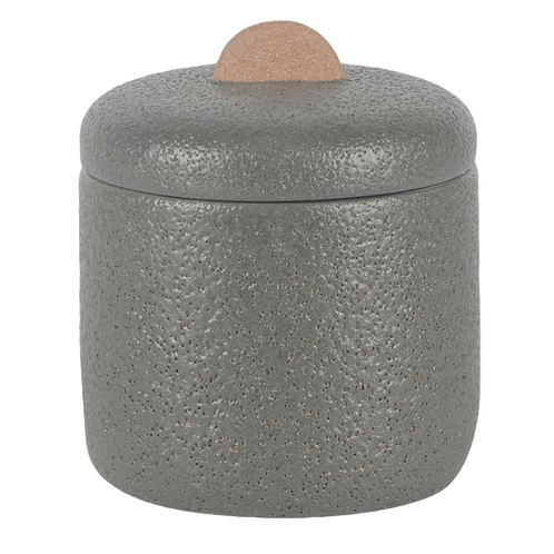 Pote de cerâmica cinza com puxador terracota