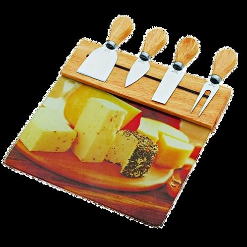 Tábua de vidro para queijos com 4 facas