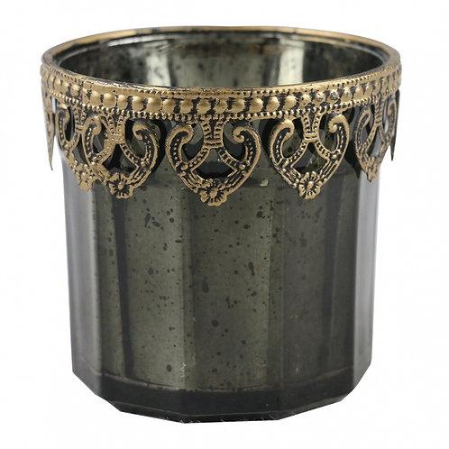 Castiçal de vidro verde e metal dourado