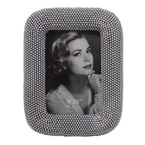 Porta Retrato mini bolinhas prata 10cm X 15 cm