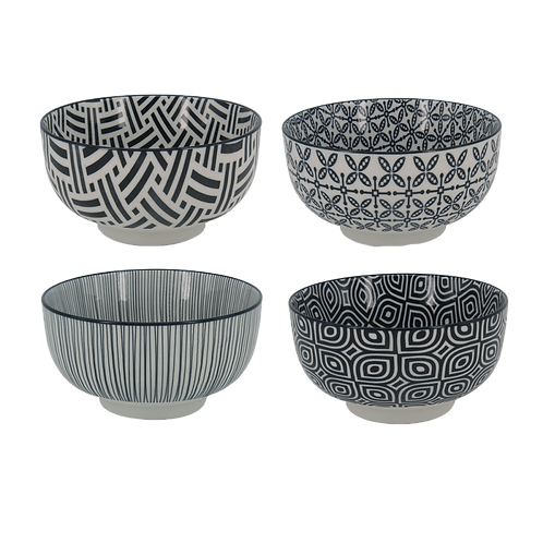 Conjunto 4 Bowls black and white