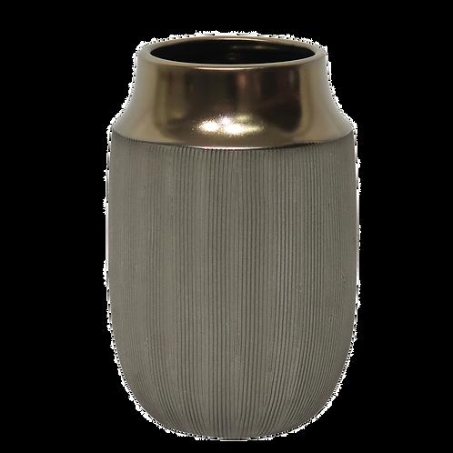 Vaso decorativo de Cerâmica Cinza e Dourado