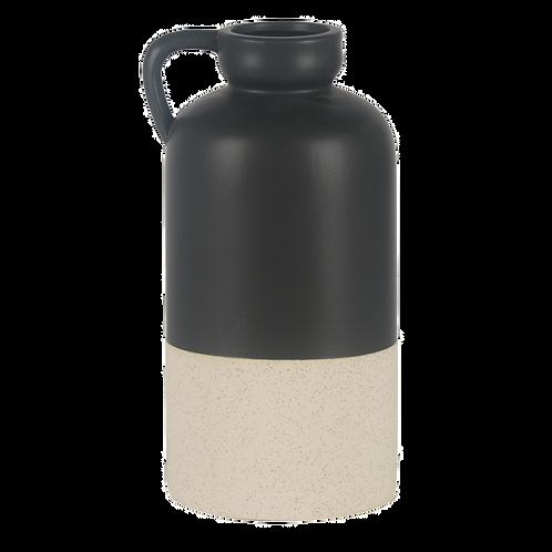 Vaso estilo jarra de cerâmica preto e branco