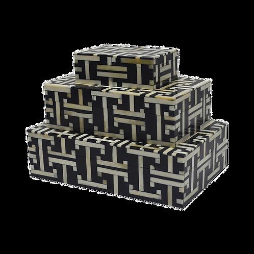 Caixa madeira resina osso preta e branca