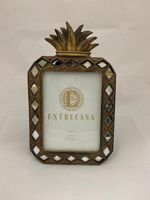 Porta Retrato Entrecasa Abacaxi Dourado 13 x 18cm