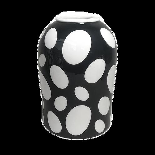 Vaso de cerâmica preto e branco