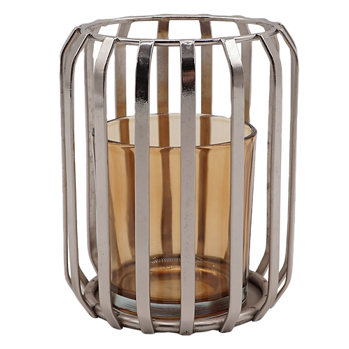 Castiçal de metal e vidro Ambar