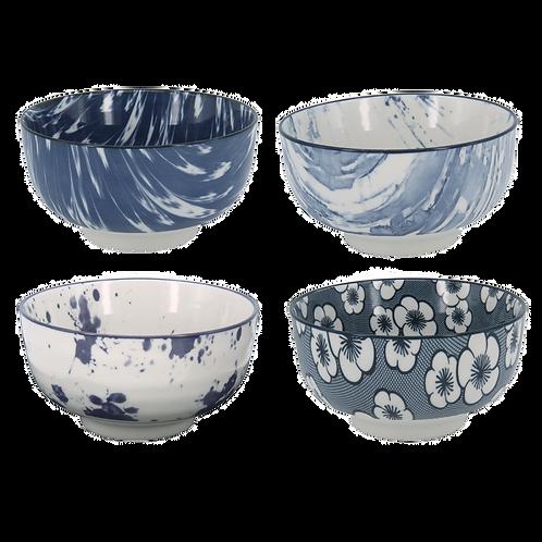 Conjunto 4 Bowls azul e branco