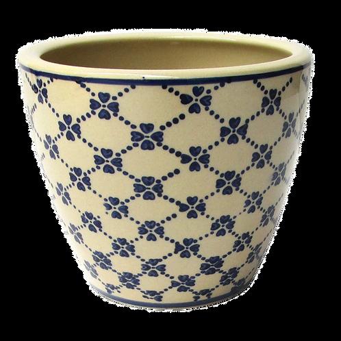 Cachepot de Cerâmica Bege e Azul