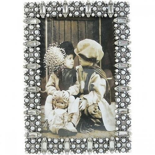Porta Retrato 10 x 15cm Prata com cristais