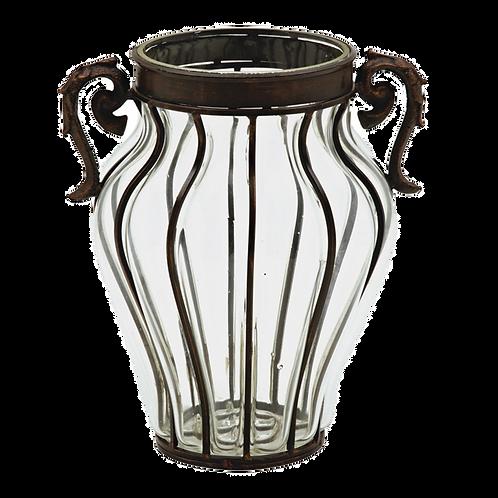 Vaso decorativo de Ferro com Vidro