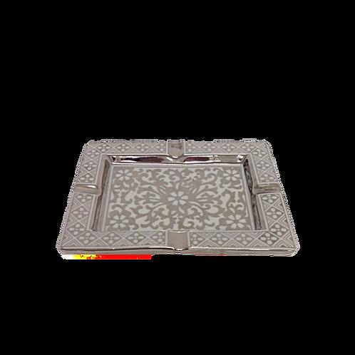 Cinzeiro de cerâmica Branco e Prata